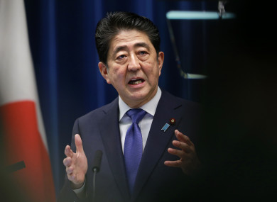 Japan's Prime Minister Shinzo Abe speaks during a press conference at the prime minister's official residence in Tokyo.