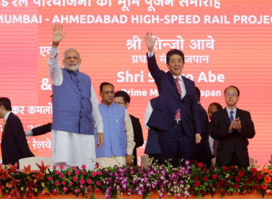 Indian Prime Minister Narendra Modi (left) and Japanese Prime Minister Shinzo Abe at the launch on Thursday