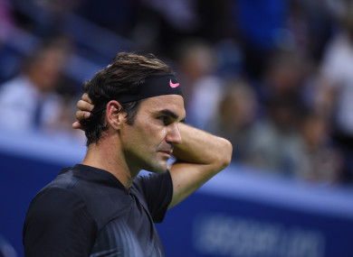 Roger Federer (SWI) plays his 1/4 final match at the 2017 US Open.