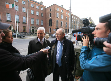 Group CEO of Permanent TSB Jeremy Masding (R) talking to the media while arriving the Department of Finance after being called in over the tracker mortgage issues.
