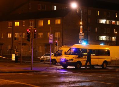 Gardaí at the scene of Eddie Hutch Snr's murder.