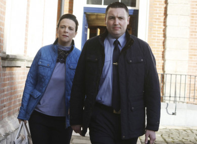Garda Keith Harrison and his partner Marisa Simms arrive at Dublin Castle.