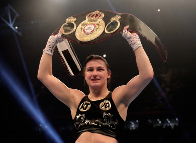 Katie Taylor celebrates victory in Cardiff.