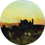 Sunset, (View of the Rock of Cashel from the Village) - Henry Mark Anthony.<span class=