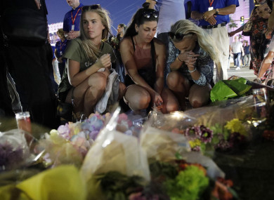 People at a memorial set up for victims of the mass shooting in Las Vegas.