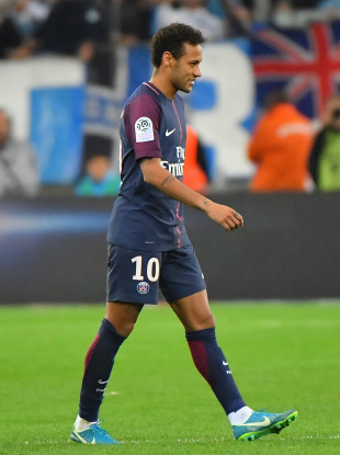 Paris Saint-Germain's Neymar Jr gets a red card.