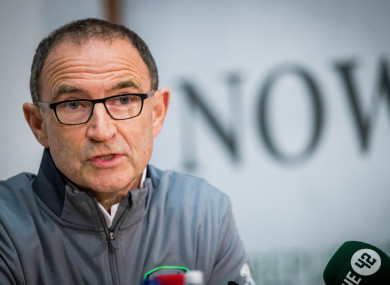Martin O'Neill speaks at Monday's press conference.