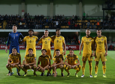 Wales doing one of their unusual team photo poses during the win over Moldova last month.