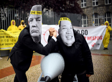 Ican activists protest against the conflict between North Korea and the US outside the North Korean embassy in Berlin last month