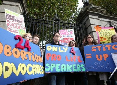 Members of the Pro-life Campaign outside Leinster House.