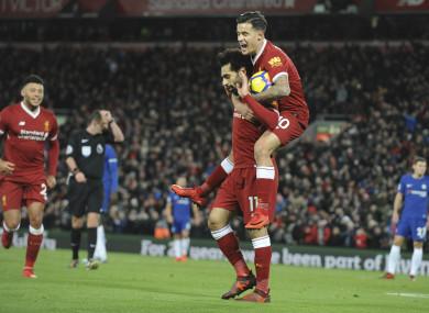 Mo Salah reacts to Liverpool's goal.