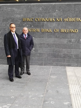 Whistleblower Jonathan Sugarman and Fianna Fáil's John McGuinness outside the Central Bank today following their meeting with Governor Phillip Lane.