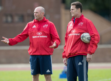 Defence coach Nienaber and Erasmus guided Munster to a Champions Cup semi-final and Pro12 final in their one full season in charge.