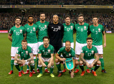 Republic of Ireland players pose for a group photograph ahead of last night's match against Denmark.