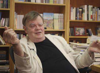 Garrison Keillor, creator and former host of A Prairie Home Companion, talks at his St. Paul, Minnesota office.
