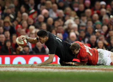 New Zealand's Rieko Ioane scores their fifth try.