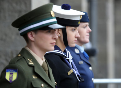 Defence Forces Pvt Chloe Carroll from Dublin, Able Seaman Leia Wall from Meath and Air corps Sgt Anne Kelly from Kildare attending the commemoration for women in the 1916 Rising , as part of 1916 State commemorations.