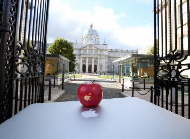 An Apple with the Apple logo in front of Government Buildings in Dublin.
