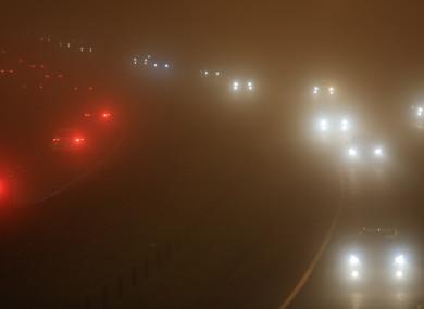 File photo. Fog on the N7 near Naas.