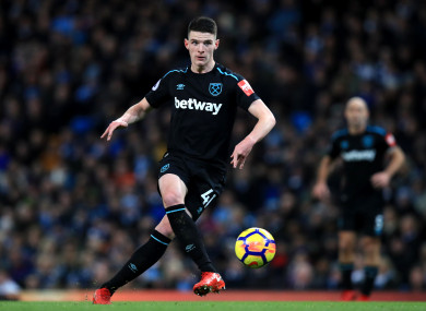 Declan Rice has impressed with West Ham in the Premier League this season.