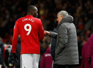 Romelu Lukaku pictured with Man United boss Jose Mourinho.