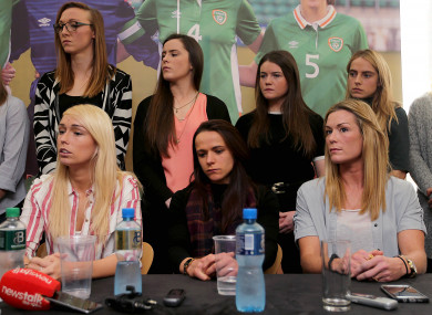 Stephanie Roche, Aine O'Gorman and Emma Byrne with members of the women's national team at a press conference last April at Liberty Hall in Dublin.