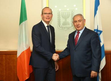 Simon Coveney and Prime MInister Benjamin Netanyahu