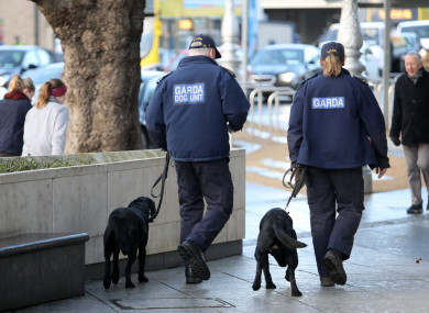 Members of the Garda dog unit outside the Criminal Court of Justice Dublin during the Regency Hotel trial.