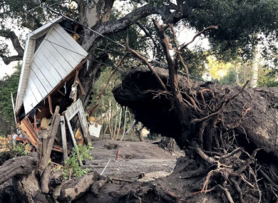 The aftermath of a mudslide in Montecito