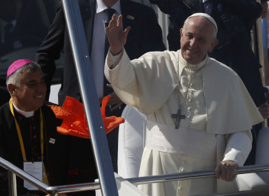 Pope Francis arrives to celebrate Mass on Lobito Beach in Iquique, Chile