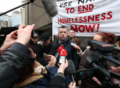 Brendan Ogle speaking during the Apollo House occupation.