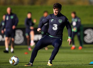 Scott Hogan in training with Ireland in October.