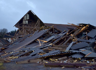 A view of the wreckage caused by the storm in Meimbressen, Germany.