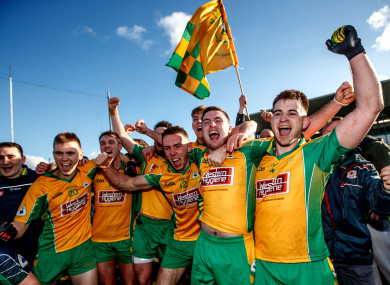 Corofin players celebrate their victory over Moorefield.
