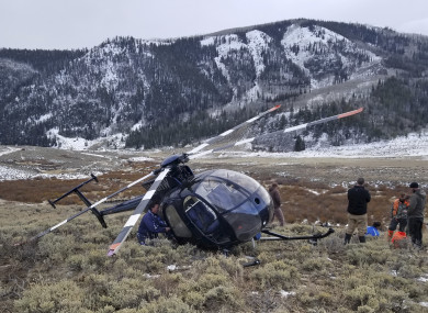 Photo of the helicopter after the crash.