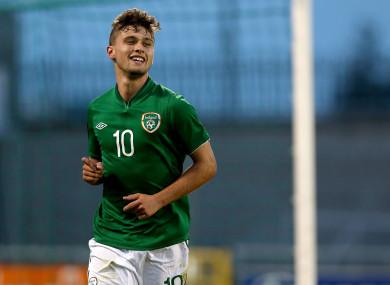 Stokes celebrates scoring for the Ireland U19s.