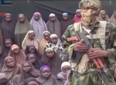 File photo from Boko Haram video purportedly showing some of the schoolgirls captured in Chibok in 2014.
