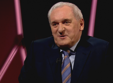 Bertie Ahern speaking on tonight's Claire Byrne Live.
