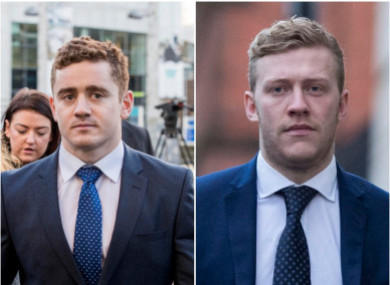 Paddy Jackson (left) and Stuart Olding.