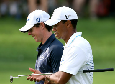 McIlroy and Woods during their round together at the 2012 BMW Championship.