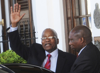 South African President Jacob Zuma waves as he leaves parliament in Cape Town (File photo).