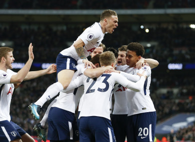 Tottenham's players celebrate a goal.