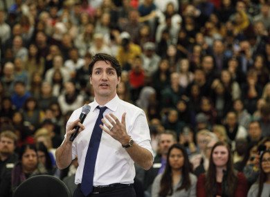 Prime Minister Justin Trudeau takes part in a town hall meeting in Edmonton