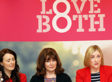Aine Kierans, Caroline Simons and Cora Sherlock from the Pro Life Campaign in Buswell's Hotel, Dublin earlier this month