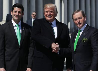 House Speaker Paul Ryan, US President Donald Trump, and former Taoiseach Enda Kenny on St Patrick's Day last year.