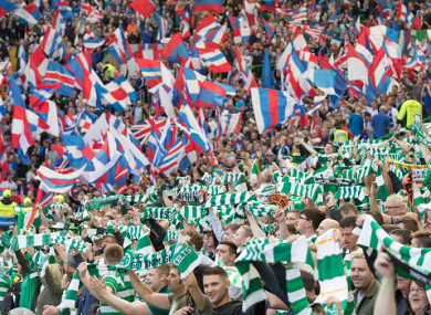 Celtic and Rangers fans pictured during a Scottish Premiership game at Celtic Park.