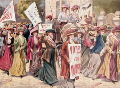 An early 20th century suffragette demonstration.
