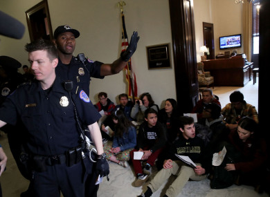 Students protest at the Florida state capitol building in the wake of the school shooting which left 17 dead.