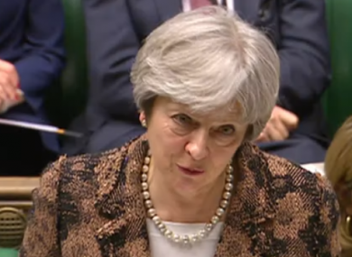Theresa May addressing the UK House of Commons.