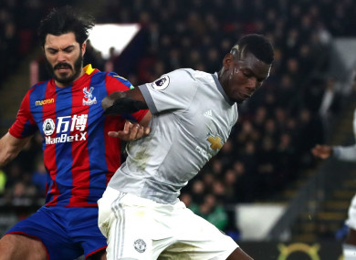 Paul Pogba struggled against Crystal Palace.